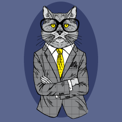 image of grumpy cat in business suit
