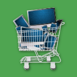 image of computers in shopping cart